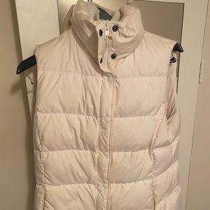 J Crew White Down Puffy Vest